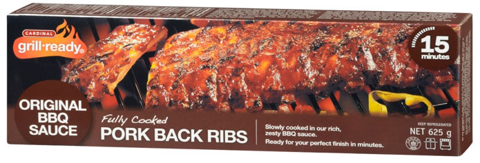 Grill Ready Fully Cooked Pork Back Ribs in Original Sauce