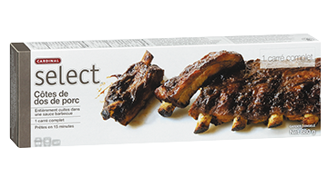 Cardinal Select Fully Cooked Pork Back Ribs in Barbecue Sauce